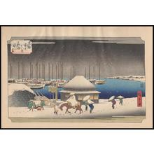 Utagawa Hiroshige: A Snow Evening at Takanawa - Japanese Art Open Database