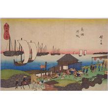 Utagawa Hiroshige: Returning Boats at Takanawa — 高輪帰帆 - Japanese Art Open Database