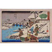 歌川広重: Viewing the Snow at Mokuboji Temple — 木母寺雪見 - Japanese Art Open Database