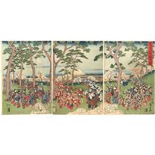 Utagawa Hiroshige: Cherry blossom viewing at Mt Asukayama — Asukayama hanami no zu - Japanese Art Open Database