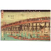 歌川広重: Fireworks at Ryogoku bridge - Japanese Art Open Database