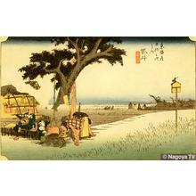 Utagawa Hiroshige: Rest at a Tea-shop at Fukuroi - Japanese Art Open Database