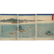 Utagawa Hiroshige: View of the Whirl Pools of Awa — 阿波鳴門之風景 - Japanese Art Open Database