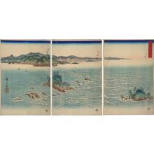Utagawa Hiroshige: View of the Whirl Pools of Awa — 阿波鳴門之風景 - Japanese Art Open Database