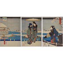 Utagawa Hiroshige: Snow at the Sumida River — 隅田川雪中の図 - Japanese Art Open Database