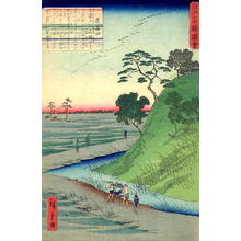 Utagawa Hiroshige II: bijin in a kago being carried by her servants beside paddy-fields - Japanese Art Open Database