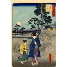 Hiroshige 2 and Kunisada 1: A young bijin and her maid taking an evening stroll - Japanese Art Open Database