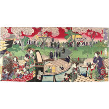 Hiroshige 3 and Yoshiiku: Sumida river crowded with cherryblossom viewers - Japanese Art Open Database