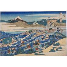 葛飾北斎: Fuji Viewed from Kanaya on the Tokaido Highway — 東海道金谷ノ不二〔以下裏富士〕 - Japanese Art Open Database