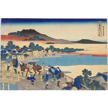 Katsushika Hokusai: Fukui Bridge in Echizen Province — えちぜんふくゐの橋 - Japanese Art Open Database