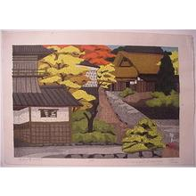 前田政雄: Unknown- traditional Japanese houses amid autumn trees - Japanese Art Open Database