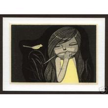 Ikeda Shuzo: Girl with a yellow Bird - Japanese Art Open Database