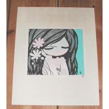 Ikeda Shuzo: Unknown- Girl with three flowers - Japanese Art Open Database