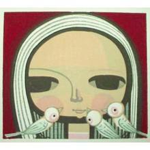 Ikeda Shuzo: Unknown- girl and 3 birds - Japanese Art Open Database