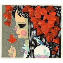 Ikeda Shuzo: Unknown- girl, flower and bird - Japanese Art Open Database
