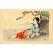 Ikeda Terukata: Untitled- Young bijin relaxing - Japanese Art Open Database