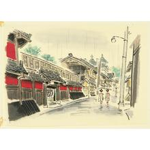 Ito Nisaburo: Rainy Street of Kyoto - Japanese Art Open Database