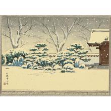 Ito Nisaburo: Snowy Temple Garden - Japanese Art Open Database