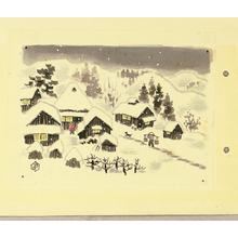 Ito Nisaburo: Snowy village - Japanese Art Open Database