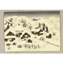 Ito Nisaburo: Snowy village - woodblock - Japanese Art Open Database