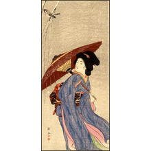 Ito Sozan: Bijin and sparrow - Japanese Art Open Database