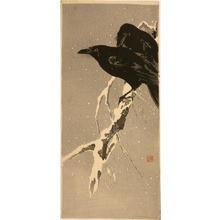 Ito Sozan: Crows on snowy branch - Japanese Art Open Database