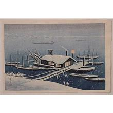 Henmi Takashi: Ferry in Snow at Akabane, Tokyo - Japanese Art Open Database