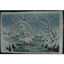 Henmi Takashi: Rapids in Kunitachi Park in Towada in snow (Oirase) - Japanese Art Open Database