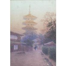 Ito Yuhan: Temple and figures in a misty landscape. - Japanese Art Open Database