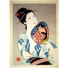 Iwata Sentaro: Bijin and Fan - Japanese Art Open Database
