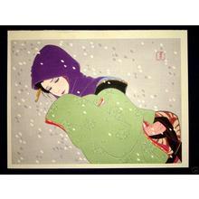 Iwata Sentaro: Bijin in Snow - Japanese Art Open Database