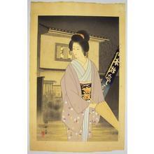 Jinbo Tomoyo: Rain — 雨 - Japanese Art Open Database