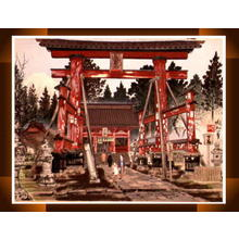 Jokata Kaiseki: Fuji Northern Entrance- Asama Shrine — 富士山北口浅間神社と富士 - Japanese Art Open Database
