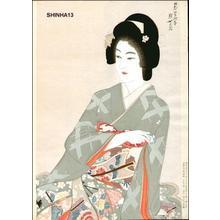 Jokata Kaiseki: Beauty holding sake cup - Japanese Art Open Database