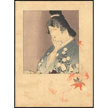 梶田半古: Bijin and Maple Leaves - Japanese Art Open Database