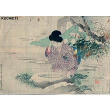 Kajita Hanko: Bijin at water — 仙錦亭 - Japanese Art Open Database