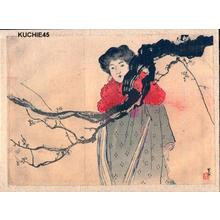 梶田半古: Bijin with red coat - Japanese Art Open Database