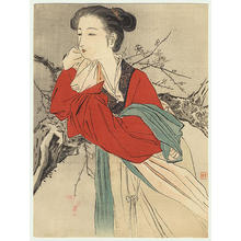 梶田半古: Chinese Lady in Red - Japanese Art Open Database