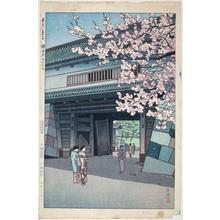 笠松紫浪: Blooming Cherries at the Sakuradamon Gate - Japanese Art Open Database