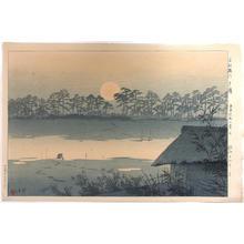 笠松紫浪: The sunset over Tone river — Ko-Tonegawa Yuhi - Japanese Art Open Database