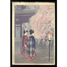 笠松紫浪: Cherry Blossoms at Heian Jingu Shrine - Japanese Art Open Database