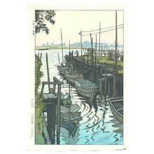 笠松紫浪: Ferry in Edogawa Imai - Japanese Art Open Database