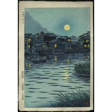 笠松紫浪: Rising Moon at Katase River - Japanese Art Open Database