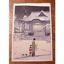 笠松紫浪: Spring Snow at Toriku Shrine, Asakusa - Japanese Art Open Database