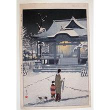 Kasamatsu Shiro: Spring Snow at Toriku Shrine, Asakusa - Japanese Art Open Database