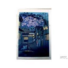 Kasamatsu Shiro: Unknown, night, sakura - Japanese Art Open Database