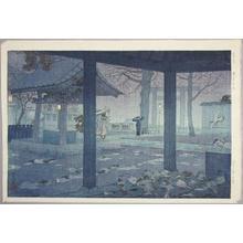 Kasamatsu Shiro: Yushima Tenjin Shrine in Spring Rain — 春雨 湯島天神 - Japanese Art Open Database
