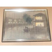 Kato Eika: Night river rain scene - Japanese Art Open Database