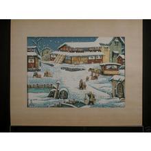Katsuhira Tokushi: Town snow scene - Japanese Art Open Database