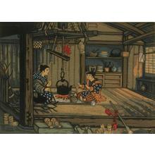 Katsuhira Tokushi: Traditional family home scene - Japanese Art Open Database